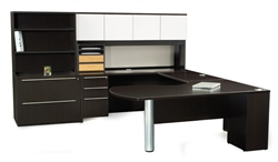 Maverick Espresso finish Executive U Shape Desks set by